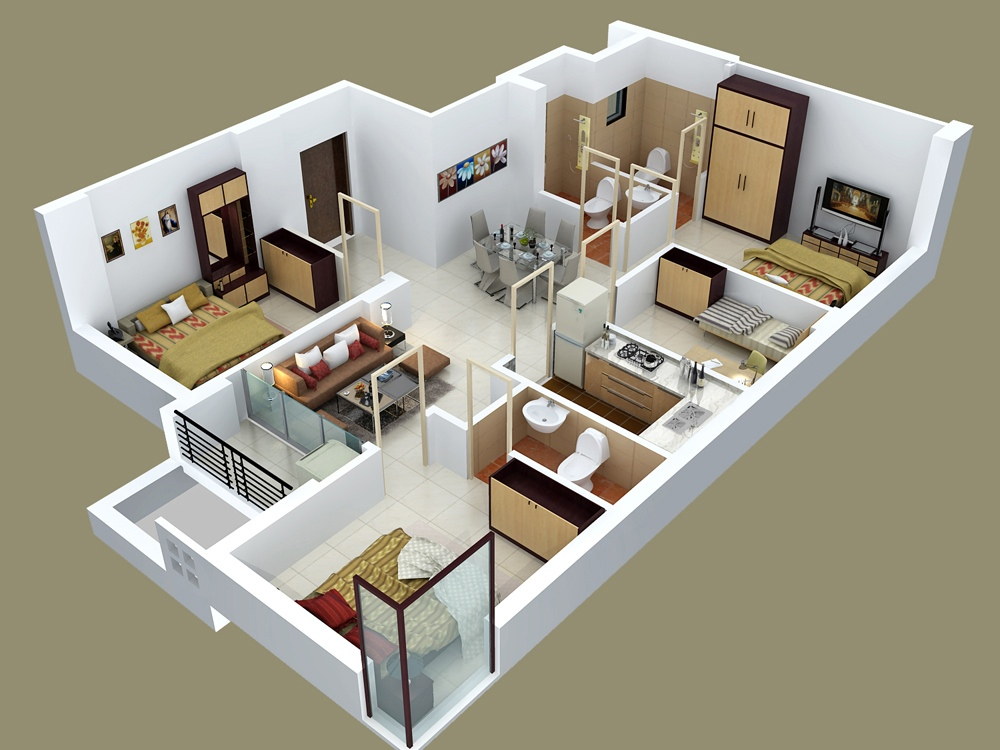50 four 4 bedroom apartment house plans architecture for Apartment design models