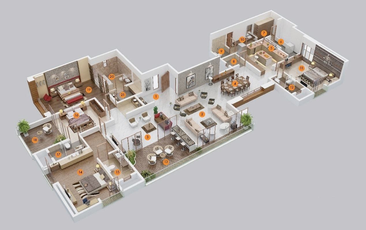 50 Four 4 Bedroom Apartmenthouse Plans on 3d One Bedroom Apartment Floor Plans