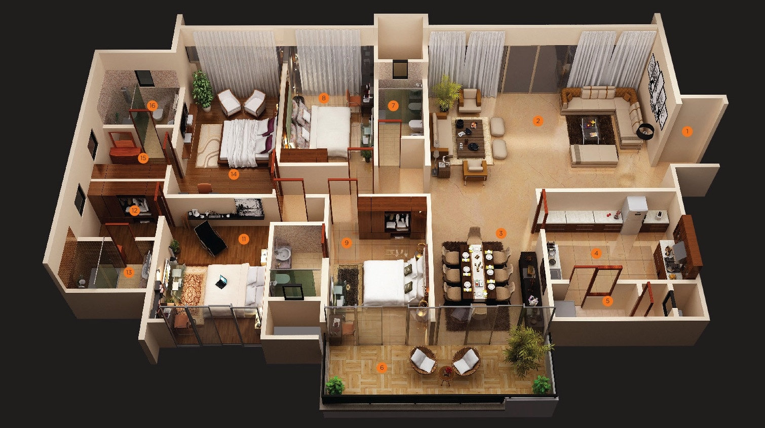 50 four 4 bedroom apartment house plans architecture for Floor plans for a 4 bedroom 2 bath house