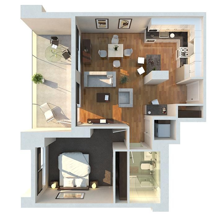 One Bedroom ApartmentHouse Plans Architecture Design - One 1 bedroom floor plans and houses