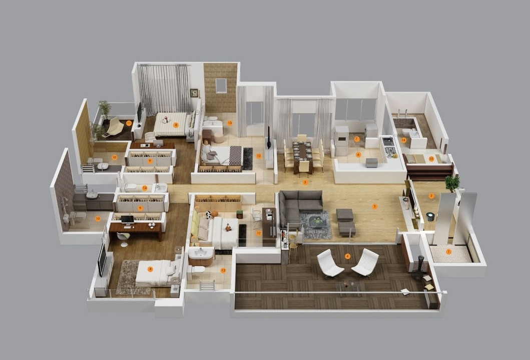 "50 Four ""4"" Bedroom Apartment/House Plans 