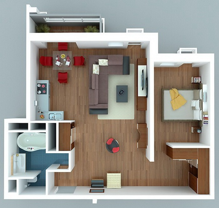 50 one 1 bedroom apartment house plans architecture for One bedroom house design