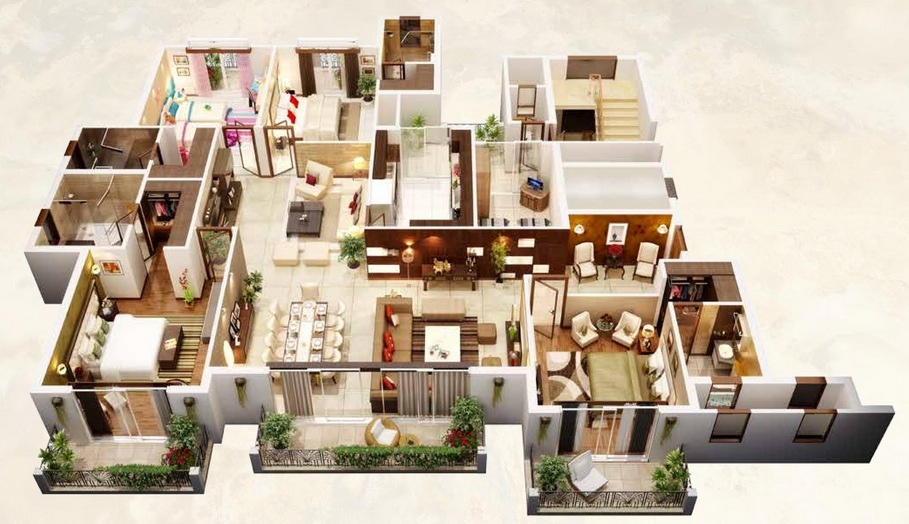 9 large home layout. 50 Four  4  Bedroom Apartment House Plans   Architecture   Design