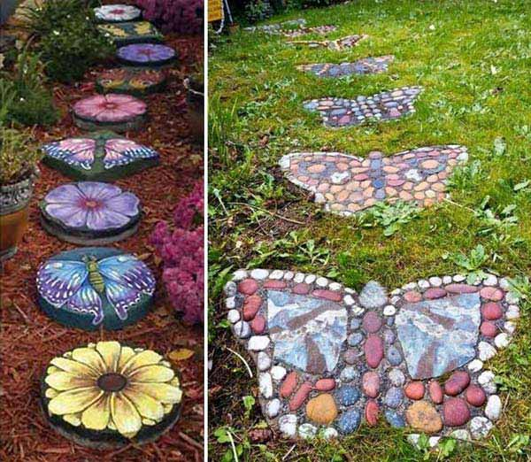 26 fabulous garden decorating ideas with rocks and stones for Spray paint rocks for garden
