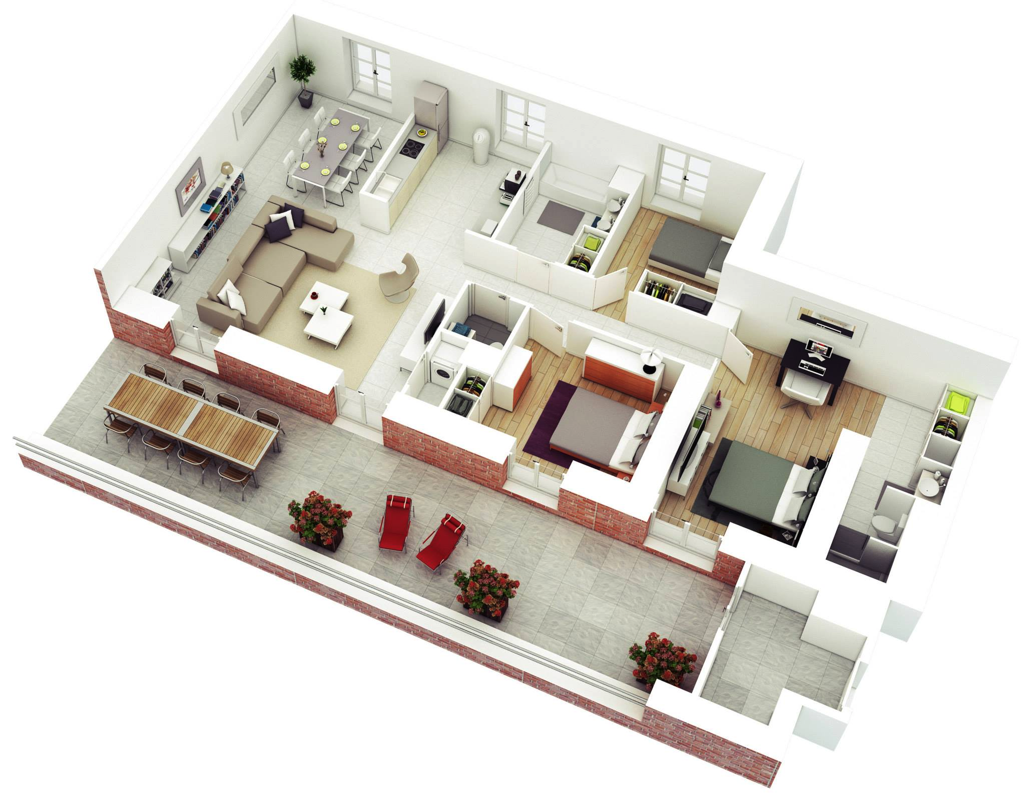 1 huge three bedroom. 25 More 3 Bedroom 3D Floor Plans   Architecture   Design