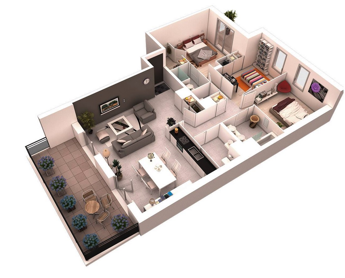 Home Design Ideas 3d: 25 More 3 Bedroom 3D Floor Plans
