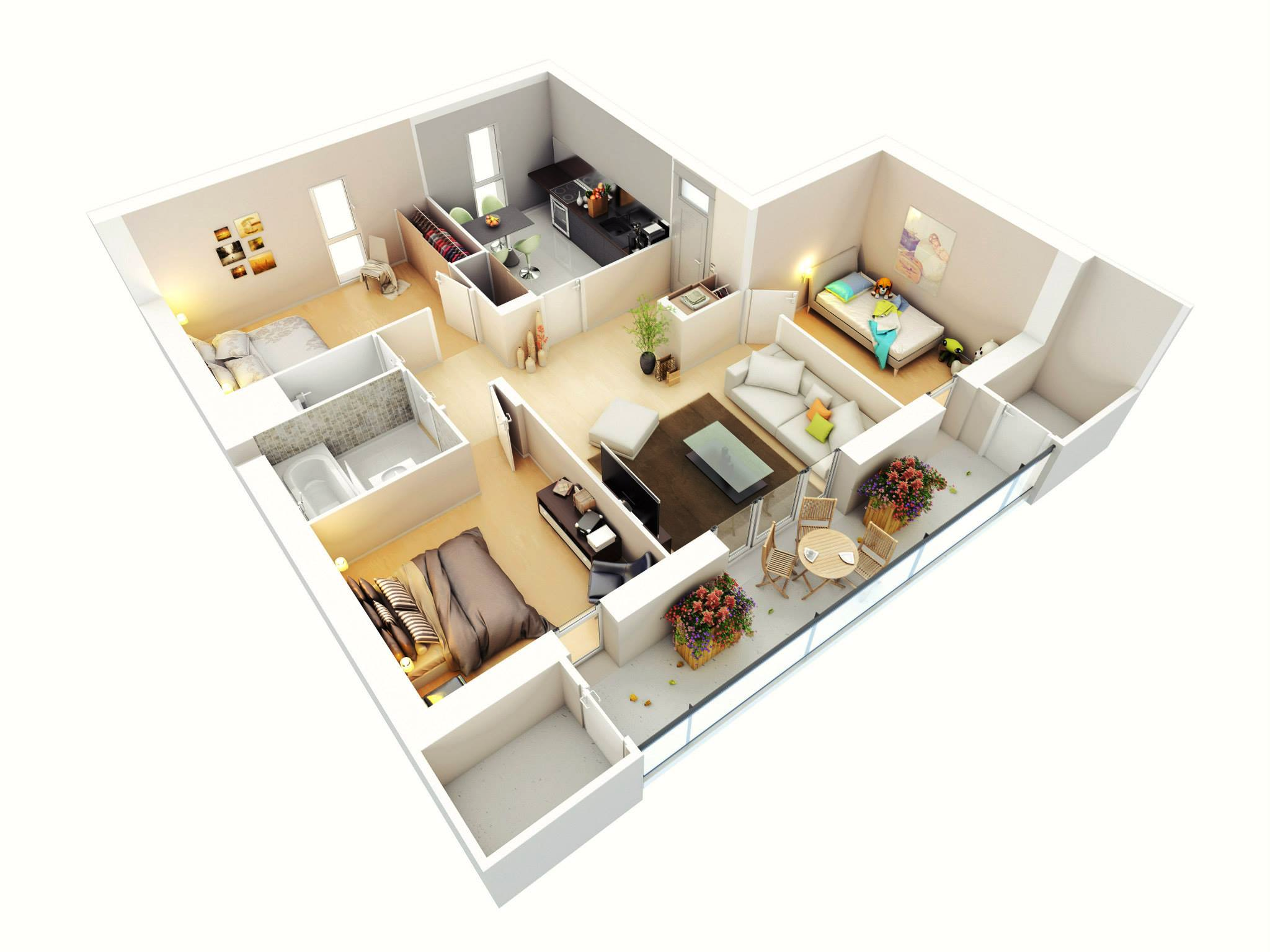 25 more 3 bedroom 3d floor plans architecture design Build 2 bedroom house