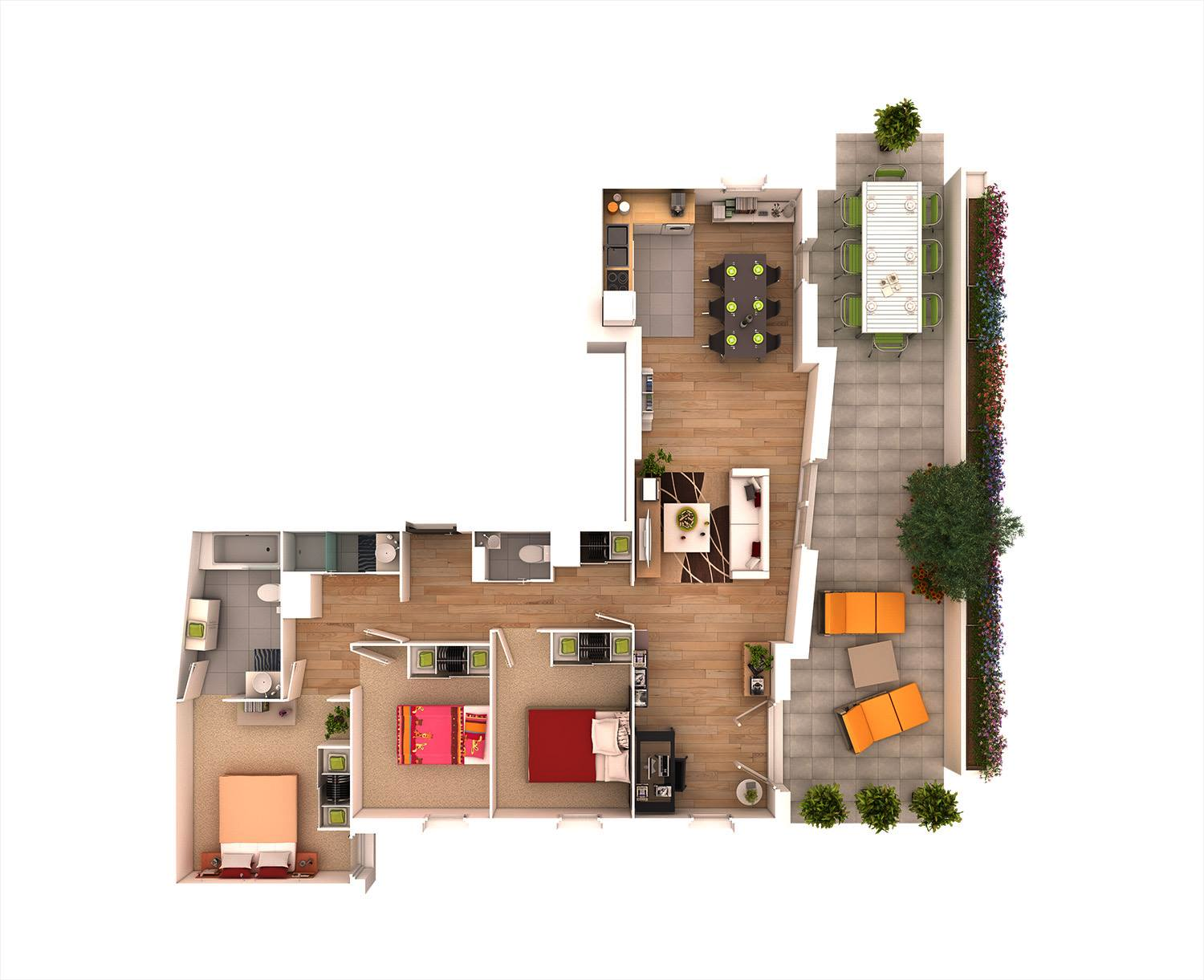 25 more 3 bedroom 3d floor plans architecture design for Layout design for 3 bedroom house