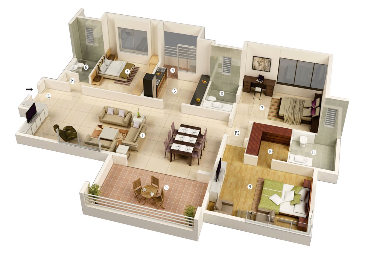 25 more 3 bedroom 3d floor plans architecture design for Home design 3d view