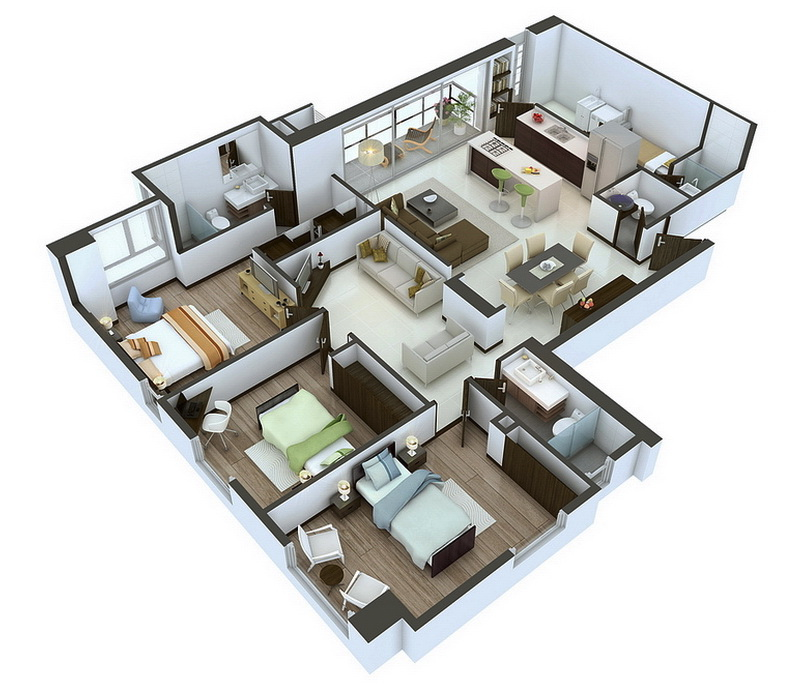 Home 3d Design Online Minimalist: 25 More 3 Bedroom 3D Floor Plans