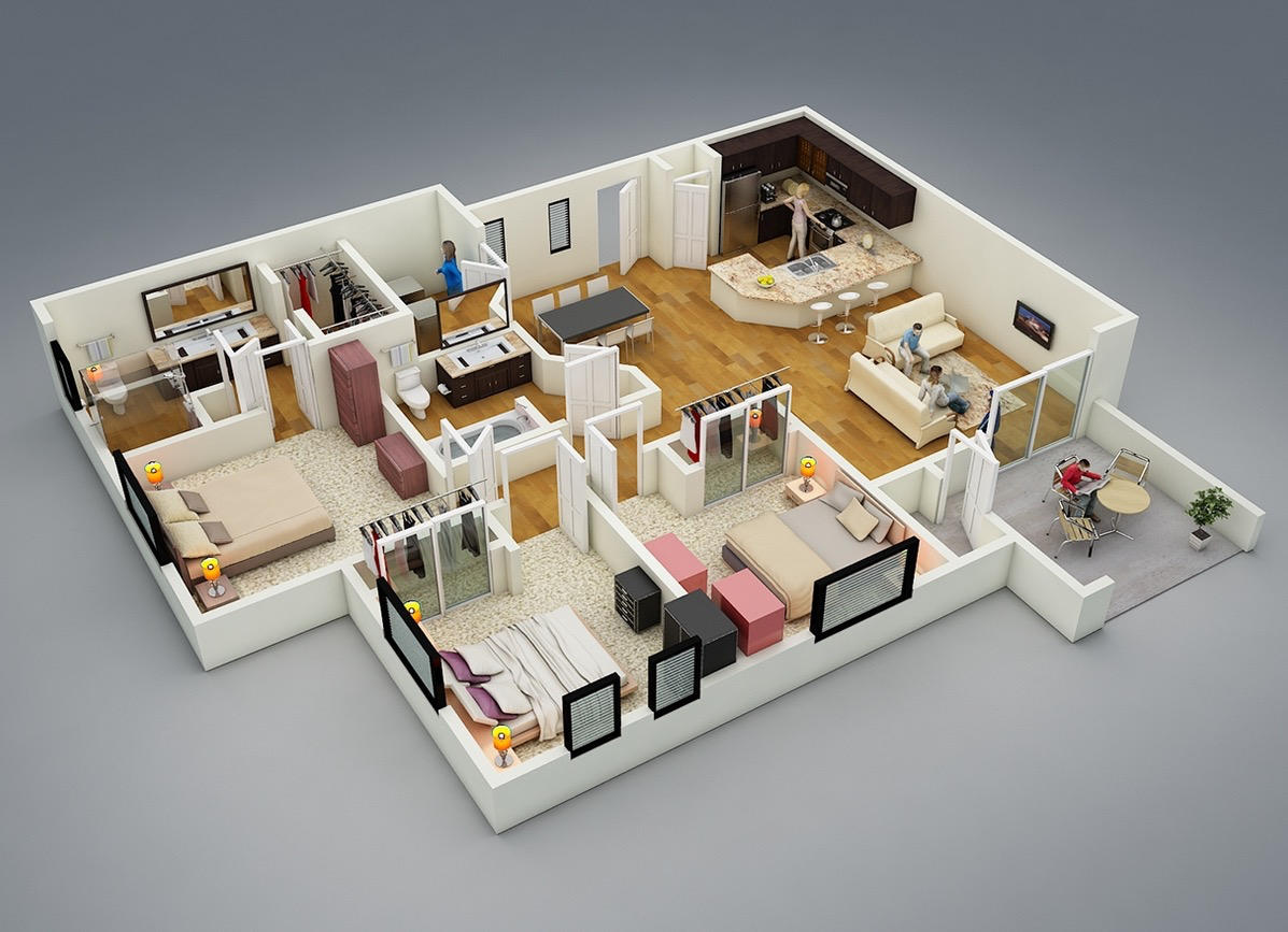 17 3 bedroom layout - 3d Plan For House