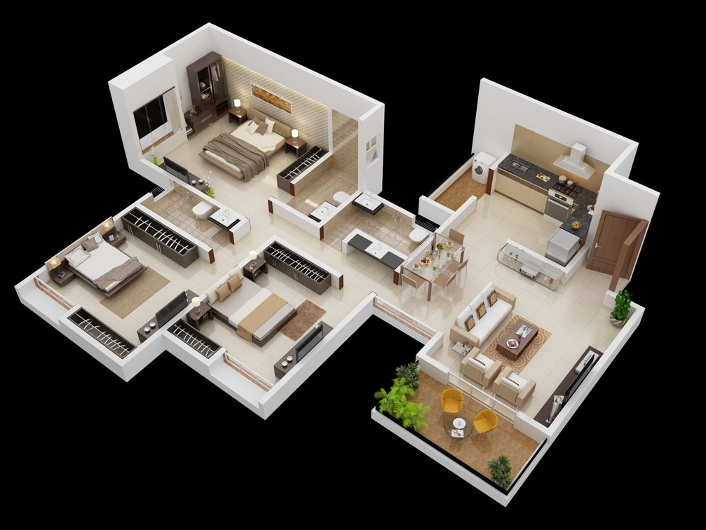 18 simple 3 bedroom - 3d Design For House