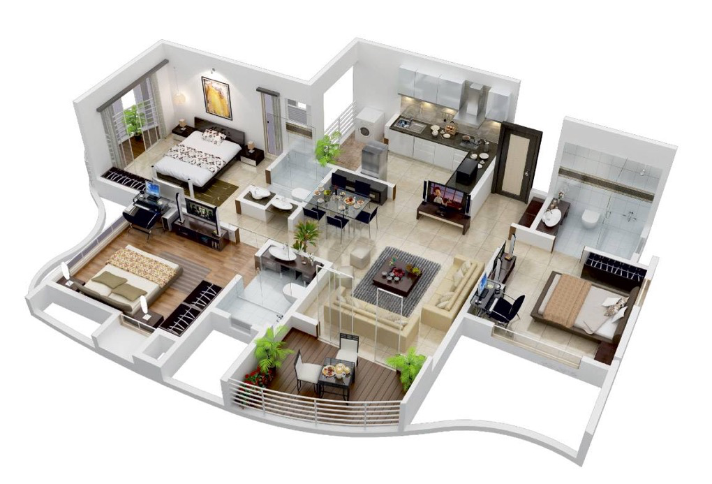 25 more 3 bedroom 3d floor plans for Planos casa minimalista autocad