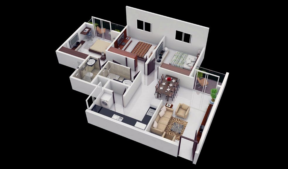25 more 3 bedroom 3d floor plans architecture design for Creative home plans