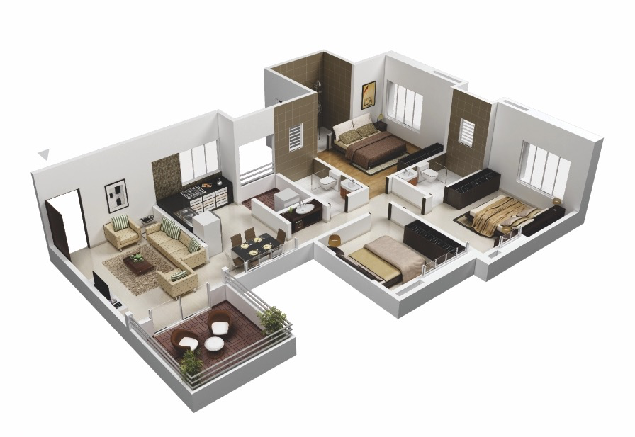 25 more 3 bedroom 3d floor plans architecture design for Three bedroom plan