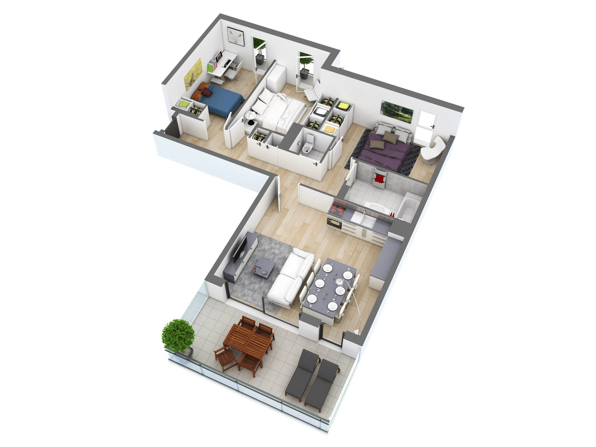 25 more 3 bedroom 3d floor plans architecture design for Small 3 room house plans