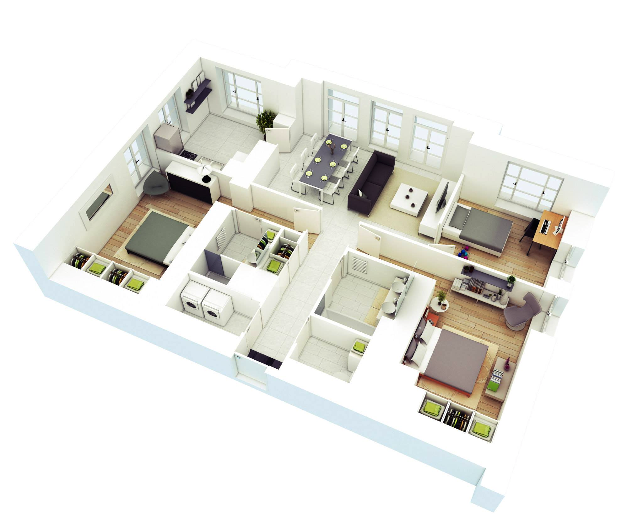 25 More 3 Bedroom 3D Floor Plans | Architecture & Design Three Bedroomed House Design on three bedroom house design, three roomed house design, three storey house design,