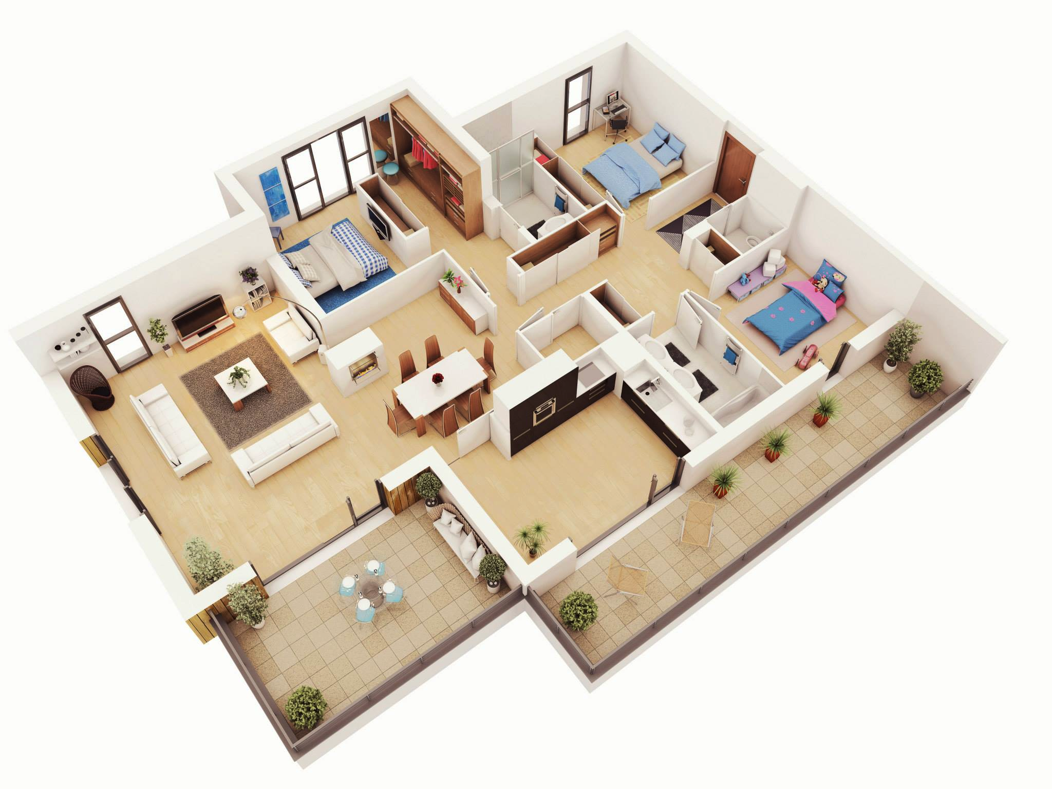 25 more 3 bedroom 3d floor plans architecture design for Three bedroom apartment layout