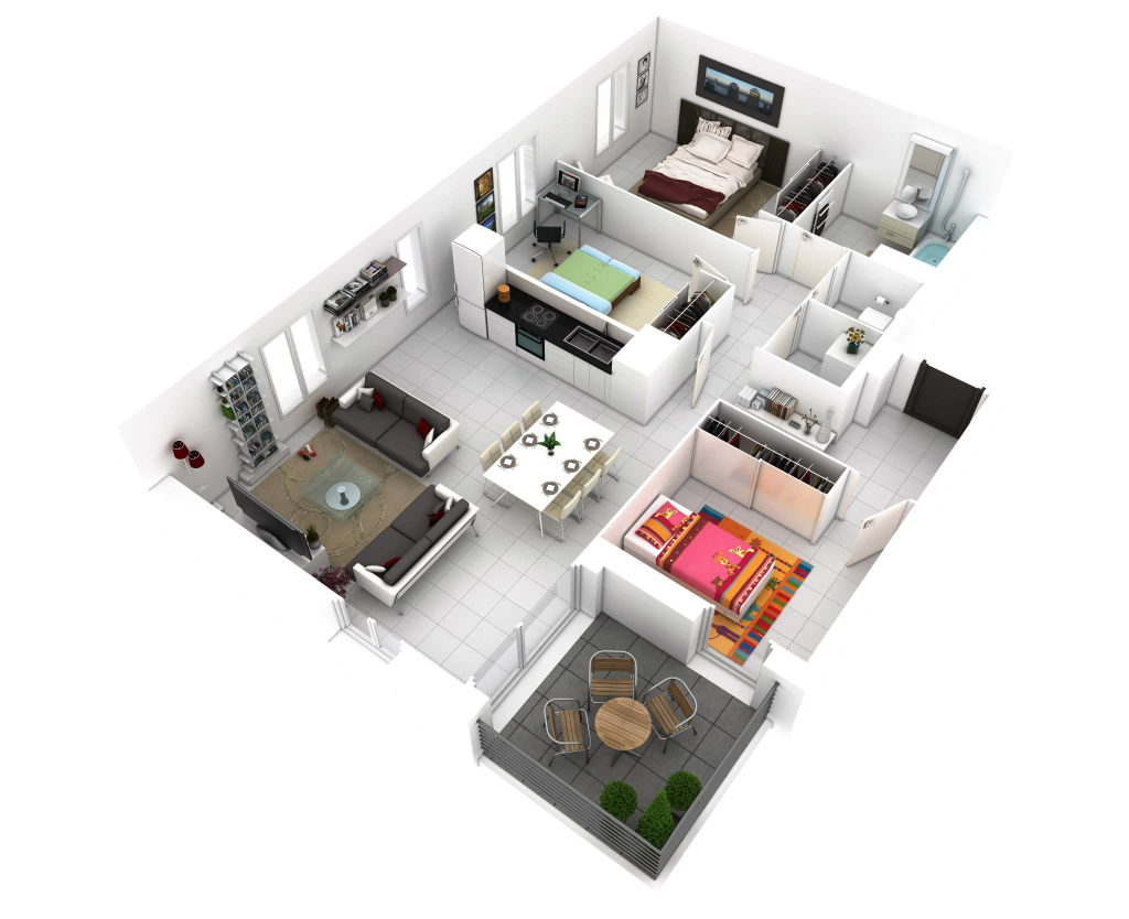 25 more 3 bedroom 3d floor plans architecture design for Planos arquitectonicos de casas
