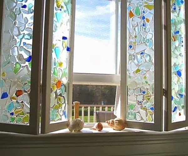 20 cute diy home decor ideas with colored glass and sea for Glass home decor