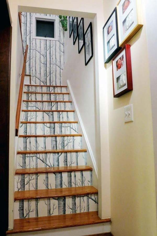 20 diy wallpapered stair risers ideas to give stairs some flair architecture design. Black Bedroom Furniture Sets. Home Design Ideas