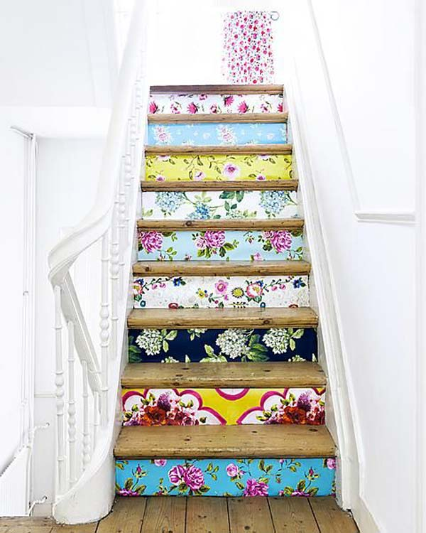 58 Cool Ideas For Decorating Stair Risers: 20 DIY Wallpapered Stair Risers Ideas To Give Stairs Some