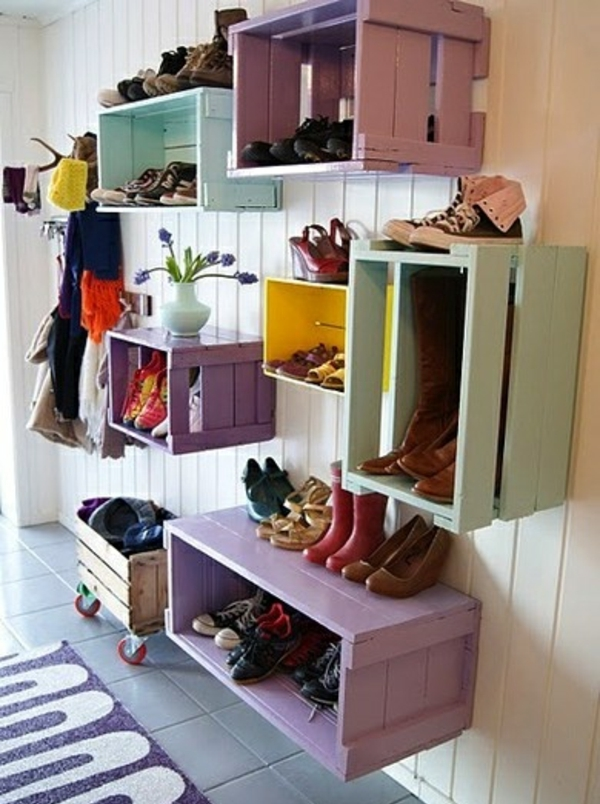 Hallway Furniture U2013 Shoe Racks From Wooden Pallets.  27 AD Corridor Design Homemade Shoe Racks Colorful