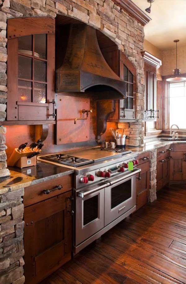 20+ Stunning Stone Kitchen Ideas Bring Natural Feel Into ... on Farmhouse:-Xjylc6A2Ec= Rustic Kitchen  id=60373