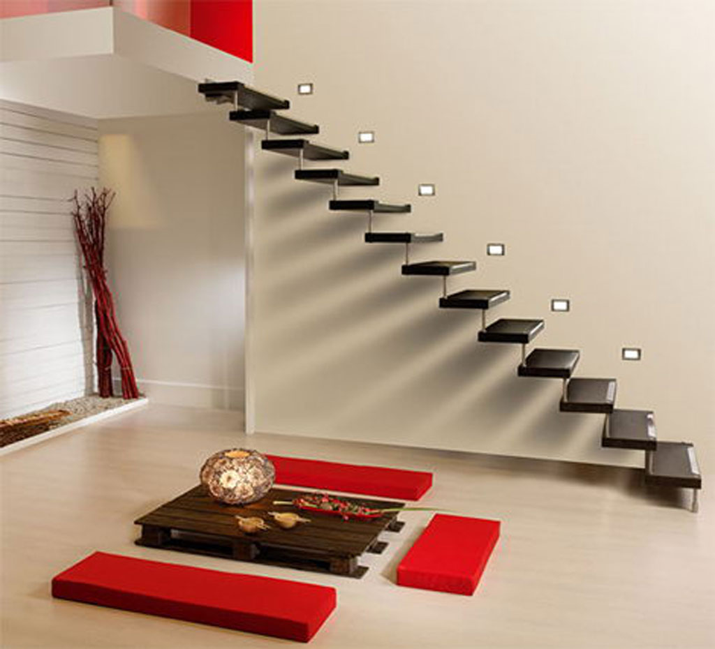 Sleek Floating Staircases Elegant Interior