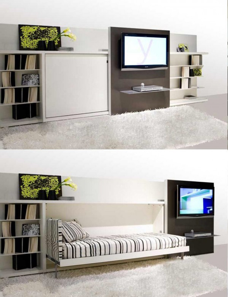 20 ideas of space saving beds for small rooms for Bedroom furniture design for small spaces