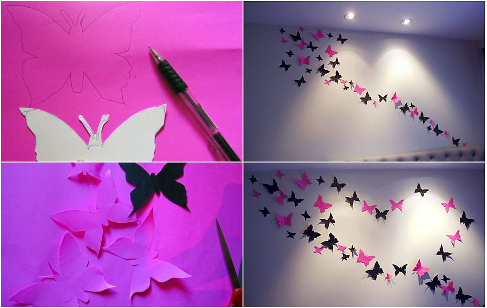 Colorful diy butterfly crafts projects to make your How to make room attractive