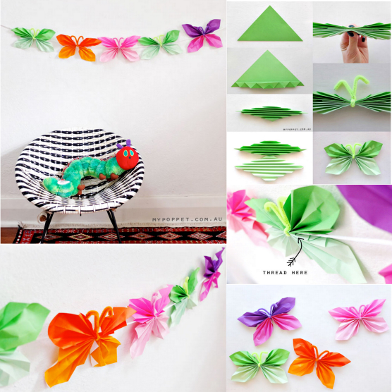 Colorful diy butterfly crafts projects to make your for Creative craft ideas with paper