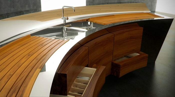 Curved kitchen worktop