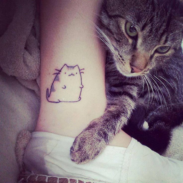 42191ed35 100 Minimalistic Cat Tattoos For Cat Lovers