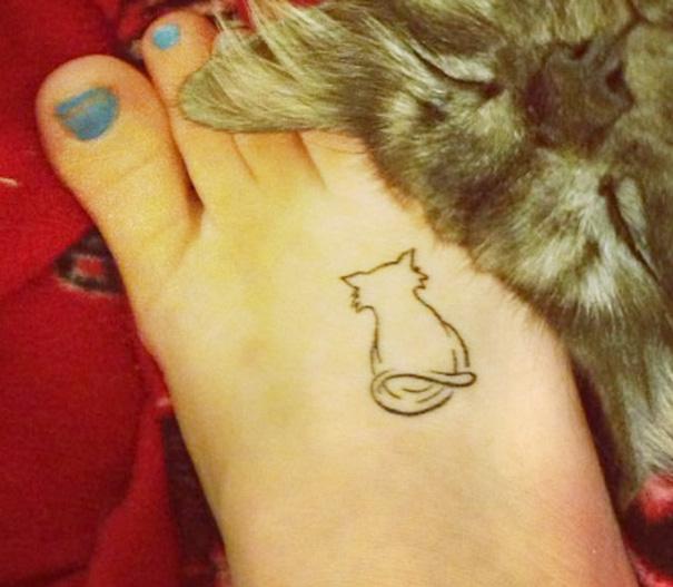 00bfc09b2a552 100 Minimalistic Cat Tattoos For Cat Lovers