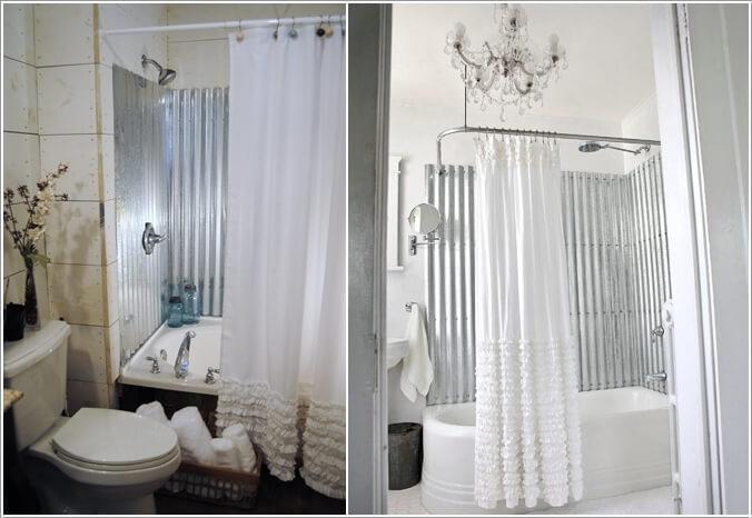 10 cool bathtub enclosure ideas for your bathroom for Corrugated iron bathroom ideas