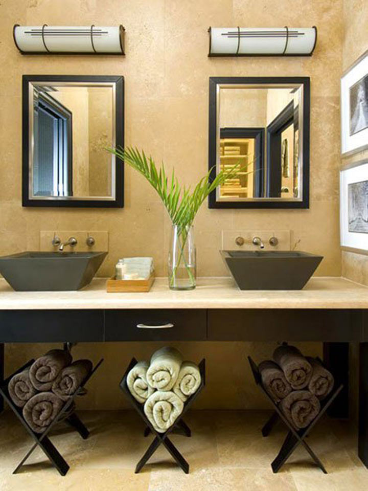 Creative Bathroom Towel Storage Ideas - Yellow bath towels for small bathroom ideas