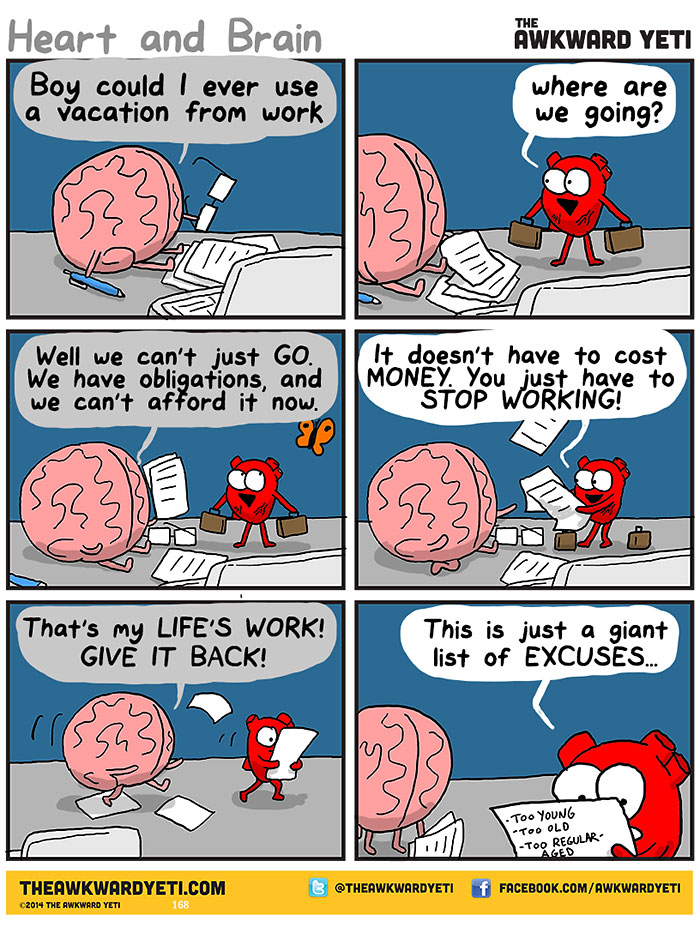 Heart Vs Brain Funny Webcomic Shows Constant Battle