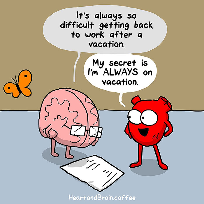 Back To Work Quotes After Vacation: Heart Vs. Brain: Funny Webcomic Shows Constant Battle