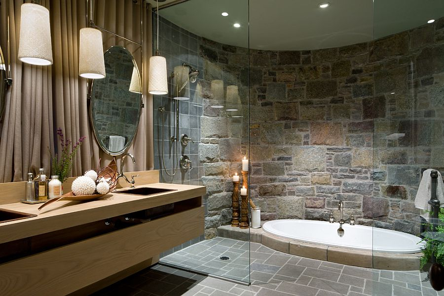 Bathroom Design Jacuzzi 30 exquisite & inspired bathrooms with stone walls