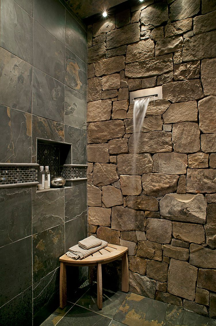 30 exquisite inspired bathrooms with stone walls. Black Bedroom Furniture Sets. Home Design Ideas