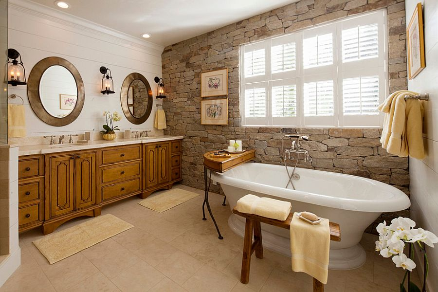 14-AD-A-wonderful-blend-of-modern-and-traditional-styles-in-the-bathroom-with-stone-wall