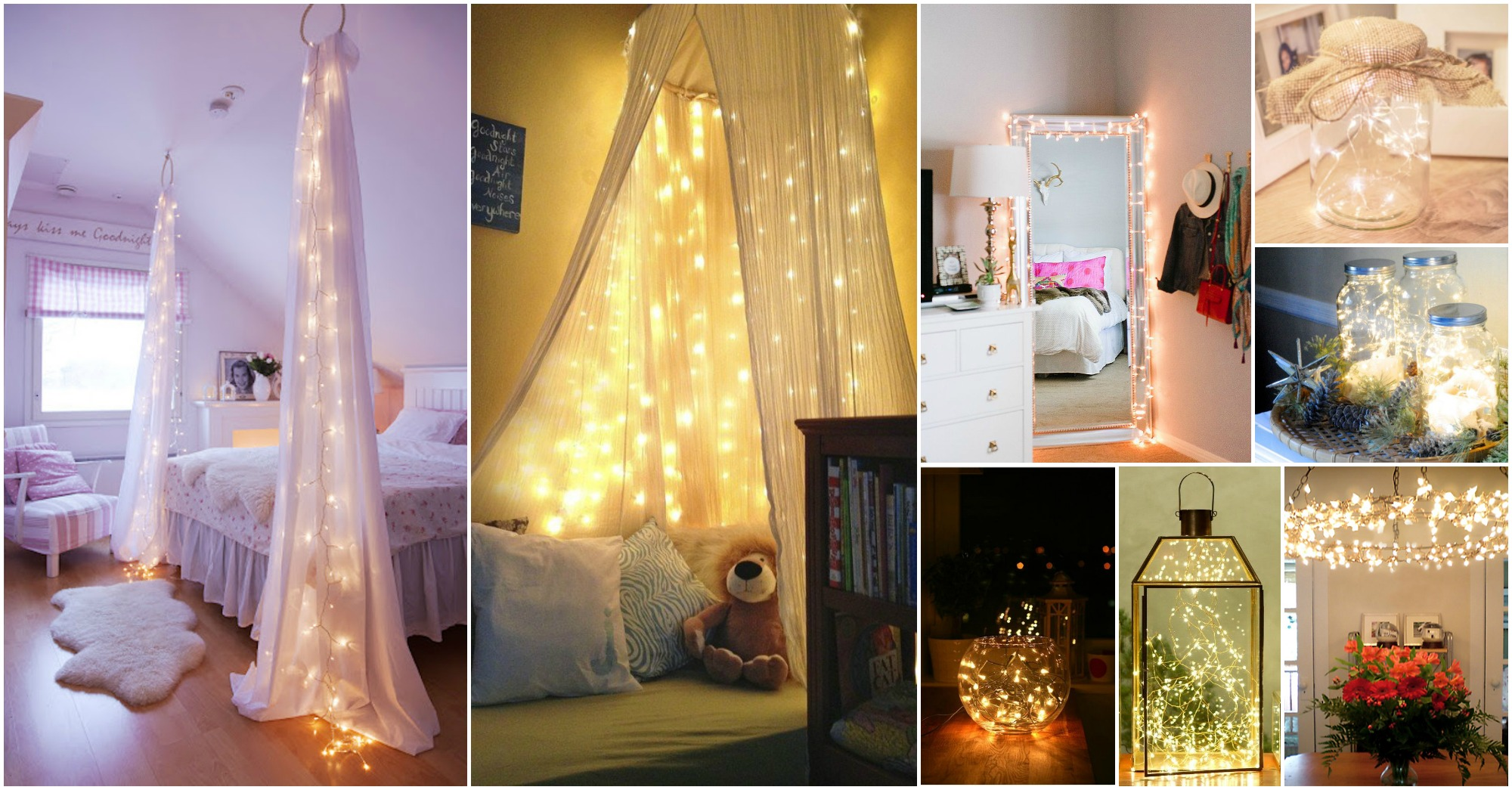 55 awesome string light diys for any occasion. Black Bedroom Furniture Sets. Home Design Ideas