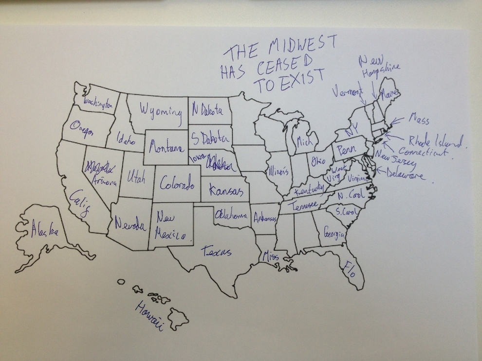 Its Thanksgiving So We Asked Brits To Label The United States - Brits label us map 2015