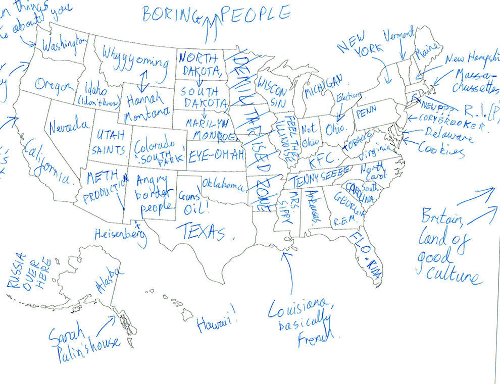 We Asked Brits To Label The United States Again Because Its A - Brits label us map 2015