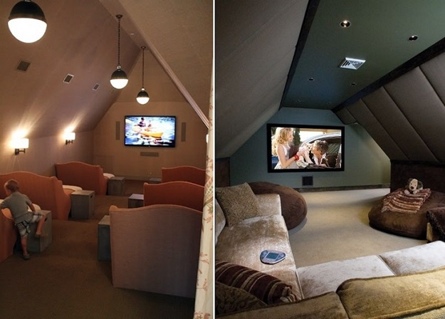 AD-Attic-Living-Space-Design-17 Home Theater Design Ideas For Small Spaces on 75in tv, room conversion, rooms cumputer, seats red, projector screen, layout plans,