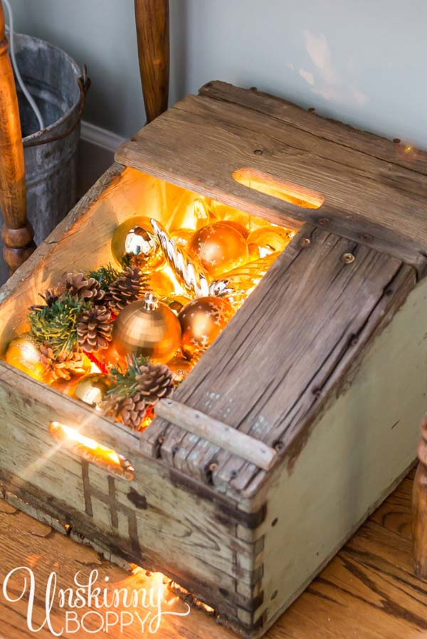ad ideas to decorate your home with recycled - Wooden Box Christmas Decorations