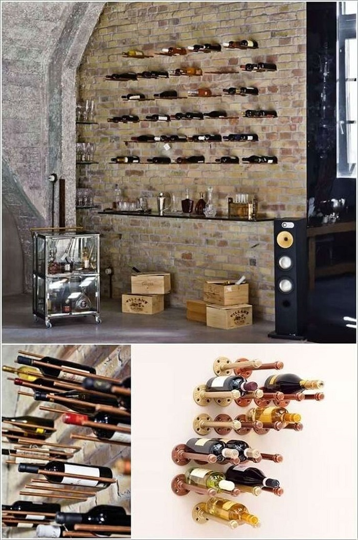 25 cool diy metal pipe projects for your home - Portabottiglie in cotto ...