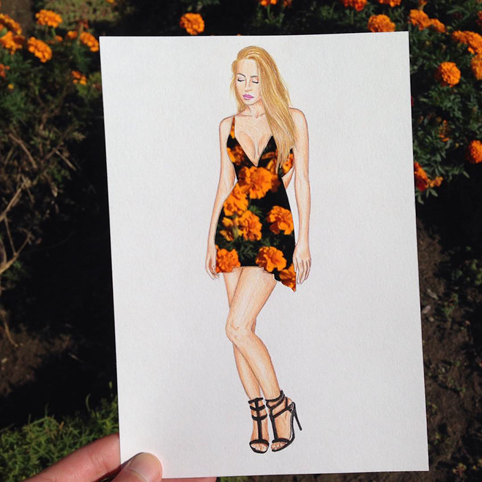 Armenian Illustrator Completes His Cut Out Dresses With Everyday Objects