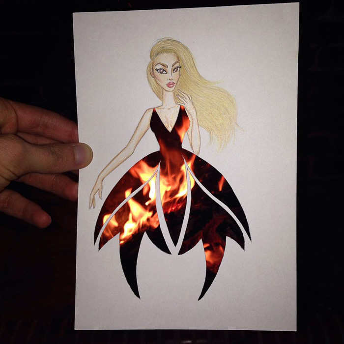 93d90ae7b76 Armenian Illustrator Completes His Cut-Out Dresses With Everyday Objects